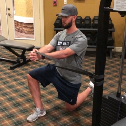 The banded iso hold from a half kneel can be done from both knees down or done as a pallof press (Pressing band out and back in)